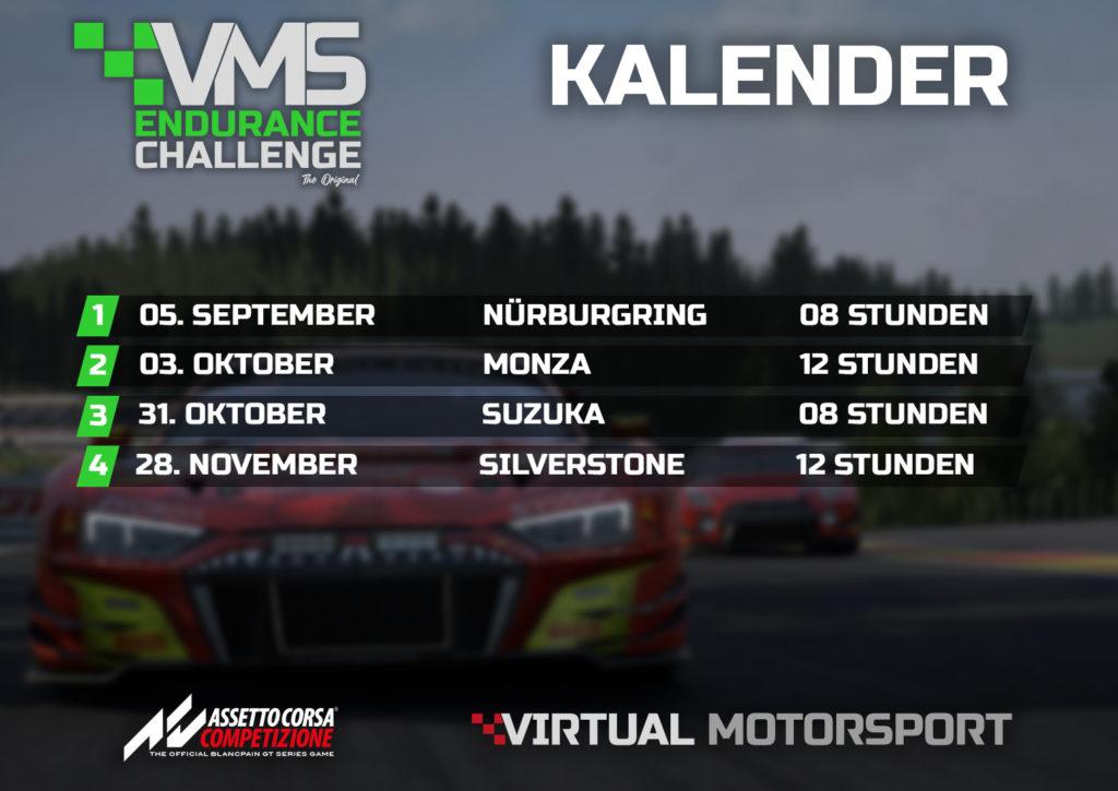 Assetto Corsa Competizione VMS Endurance Challenge Liga Kalender