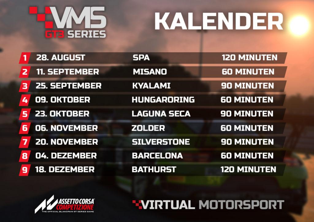 Assetto Corsa Competizione VMS GT3 Series Liga Kalender