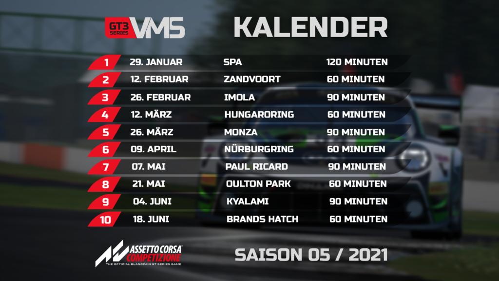 Der Kalendar der Virtual-Motorsport.de GT3 Series. Eine Online Meisterschaft / Liga in Assetto Corsa Competizione (ACC)