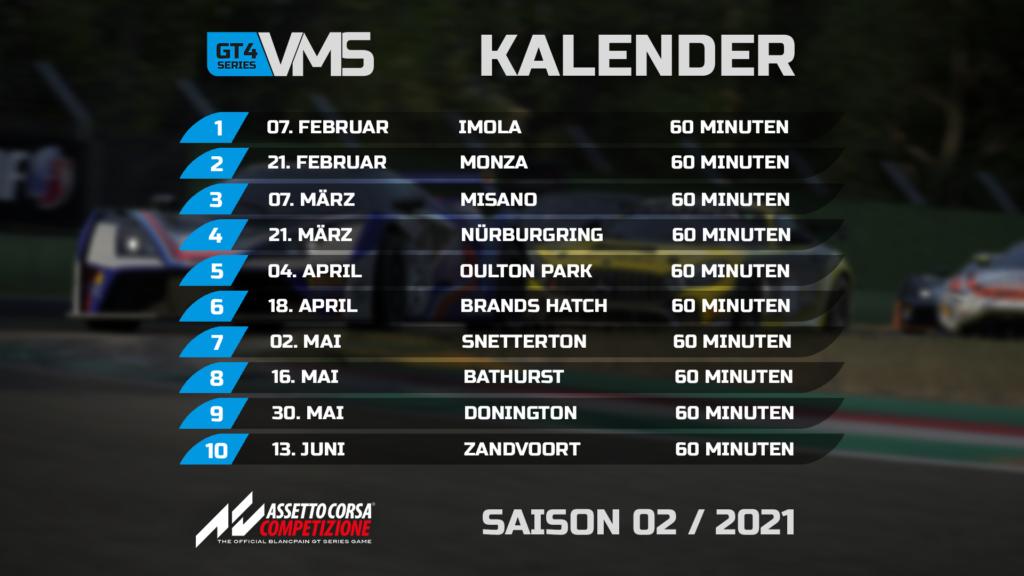 Der Kalendar der Virtual-Motorsport.de GT4 Series. Einer Meisterschaft / Liga in Assetto Corsa Competizione.