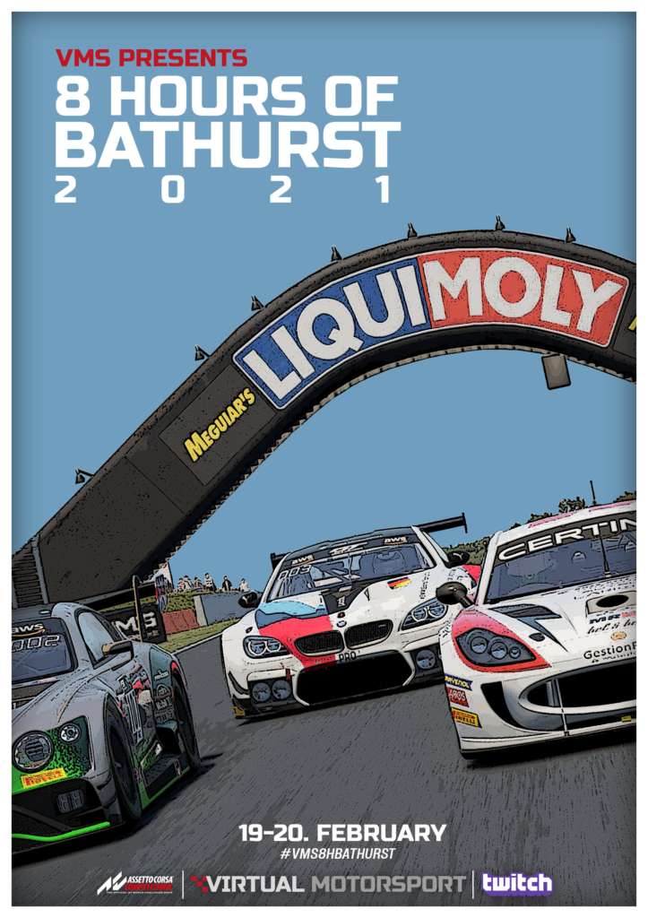 Offizielles Poster des VMS 8 Hours of Bathurst Endurance Event in Assetto Corsa Competizione (ACC)